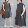Women's large Summer 2020 grey L [recommended 100-160 kg], XL [recommended 160-220 kg] Dress singleton  commute easy Socket Sleeveless Solid color literature stand collar Medium length Other / other Middle-skirt