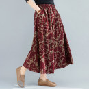 skirt Spring 2021 One size fits all [recommended 90-170 kg] Picture color Mid length dress commute High waist A-line skirt Big flower Type A 25-29 years old 81% (inclusive) - 90% (inclusive) brocade Other / other cotton literature