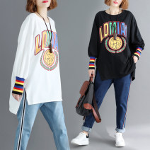 Women's large Spring of 2019, autumn of 2019 White, black One size fits all singleton  commute easy moderate Socket Long sleeves letter Korean version Crew neck routine cotton printing and dyeing Other / other 18-24 years old thread