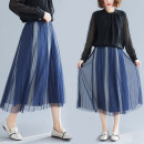 Women's large Spring 2020 Blue, black L [100-150 Jin recommended], XL [150-200 Jin recommended] skirt singleton  commute moderate literature polyester fold Other / other 51% (inclusive) - 70% (inclusive) Medium length