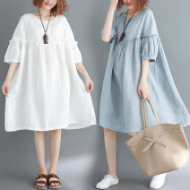 Women's large Summer 2021 Light blue, white One size fits all [recommended 110-210 kg] Dress singleton  commute easy moderate Socket Short sleeve Solid color literature Crew neck Medium length cotton Three dimensional cutting bishop sleeve Other / other Middle-skirt