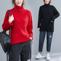 Women's large Spring 2020, winter 2020, autumn 2020 Red, black Large size average size [100-200kg recommended] sweater singleton  commute easy thick Socket Long sleeves Solid color literature High collar routine acrylic fibres routine Other / other