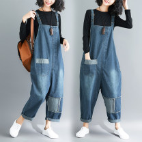 Jeans Spring 2020 blue M [100-125 Jin], l [125-150 Jin], XL [150-170 Jin], XXL [170-200 Jin] trousers Natural waist rompers routine 18-24 years old Make old, wear out, wash and whiten Cotton denim Dark color Other / other 51% (inclusive) - 70% (inclusive)