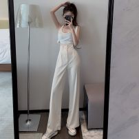 Casual pants Apricot, black S,M,L Spring 2021 trousers Wide leg pants High waist commute 18-24 years old Korean version