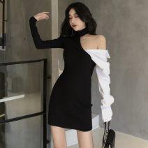 Dress Spring 2021 black Average size Short skirt singleton  Long sleeves commute Hanging neck style 18-24 years old Korean version Asymmetry