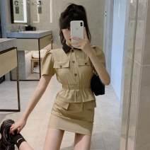 Dress Summer 2021 khaki S,M,L Short skirt singleton  Short sleeve commute Polo collar High waist Solid color One pace skirt 18-24 years old Korean version XX