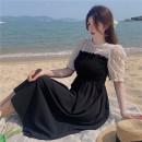 Dress Summer 2021 black Average size Mid length dress singleton  Short sleeve commute Crew neck High waist routine 18-24 years old Type A Korean version XL