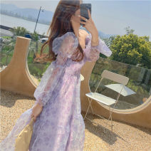 Dress Summer 2021 Purple, blue S,M,L Mid length dress singleton  Long sleeves commute square neck High waist 18-24 years old Type A Korean version XX