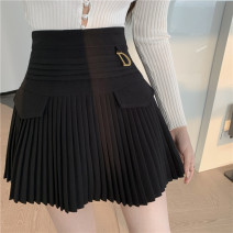 skirt Summer 2021 S,M,L White, black Short skirt commute High waist Pleated skirt Type A 18-24 years old Korean version