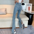 Jeans Spring 2021 blue S,M,L trousers High waist Flared trousers 18-24 years old