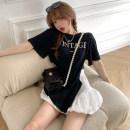 Fashion suit Summer 2021 Average size White T-shirt, black T-shirt, white skirt, black skirt 18-25 years old