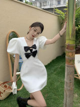 Dress Summer 2021 White, black S, M Short skirt singleton  Short sleeve commute V-neck puff sleeve 18-24 years old Korean version XT