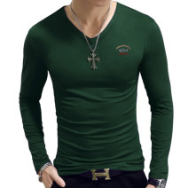 T-shirt Fashion City White black grey purple Royal Blue Red Army Green dark green routine S M L XL 2XL 3XL 4XL 5XL Shabiqi Long sleeves V-neck easy daily autumn BQ1813 Cotton 93.5% polyurethane elastic fiber (spandex) 6.5% youth routine Business Casual other Fall 2017 Solid color Embroidered logo