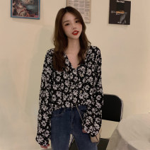 shirt black Average size Spring 2021 polyester fiber 71% (inclusive) - 80% (inclusive) Long sleeves commute Regular V-neck other routine Broken flowers 18-24 years old Straight cylinder Korean version