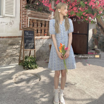 Dress Summer 2021 Picture color S,M,L Mid length dress singleton  Short sleeve commute V-neck High waist A-line skirt other Others 18-24 years old Type A Other / other Korean version 71% (inclusive) - 80% (inclusive) polyester fiber