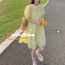 Dress Spring 2021 yellow Average size Mid length dress singleton  Short sleeve commute Crew neck High waist Solid color Socket A-line skirt puff sleeve Others 18-24 years old Type A Other / other Korean version bow 71% (inclusive) - 80% (inclusive) polyester fiber