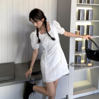 Dress Summer 2021 white S, M Short skirt singleton  Short sleeve commute square neck High waist Solid color Socket routine Others 18-24 years old Type H Other / other Korean version Lotus leaf edge 71% (inclusive) - 80% (inclusive) other polyester fiber