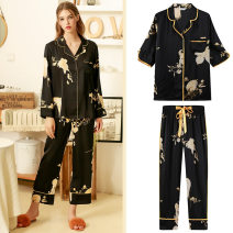 Pajamas / housewear set female L, M black Iced silk Long sleeves luxurious pajamas spring Thin money V-neck Plants and flowers Cropped Trousers Front buckle youth 2 pieces More than 95% other printing