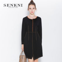 Dress Fall 2017 S161313GF-81 S M L XL XXL Middle-skirt singleton  Long sleeves commute Crew neck middle-waisted Solid color Socket routine 30-34 years old Type H Senkni / San CONI Ol style Pocket panel button S161313GF 30% and below nylon