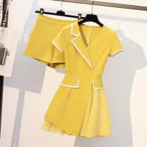 Women's large Summer 2021 Black, yellow M suggests 85-100kg, l 100-120kg, XL 122-145kg, 2XL 148-168kg, 3XL 170-190kg Two piece set commute Self cultivation thin Socket Short sleeve Solid color Korean version V-neck Medium length Polyester, cotton, others Three dimensional cutting routine Asymmetry