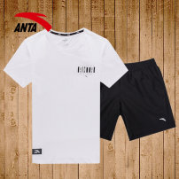 Sports suit Anta male 165(S) 170(M) 175(L) 180(XL) 185(2XL) 190(3XL) Short sleeve Crew neck shorts Socket Summer 2020 Sports & Leisure Sports life Cotton polyester Contrast brand logo design letters yes