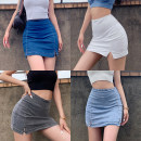 skirt Summer 2020 S,M,L White, light blue, dark blue, black, gray Short skirt street High waist skirt Type A Europe and America