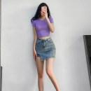 skirt Summer 2020 S,M,L Light blue, black, dark gray, khaki Short skirt street High waist skirt Type A Europe and America