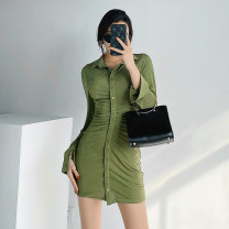 Dress Spring 2021 Black, orange, olive green S, M Short skirt singleton  Long sleeves street Polo collar High waist Solid color Single breasted routine Type A Button Europe and America