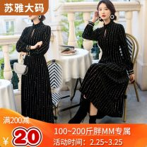 Women's large Winter of 2019, spring of 2020 black Large XL, large XXL, large XXL, large XXXXL, large XXXXL, large L Dress singleton  commute Self cultivation moderate Socket Long sleeves Korean version High collar routine 25-29 years old