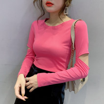 T-shirt Black, white, yellow, pink S,M,L,XL,2XL,3XL Spring 2020 Long sleeves Crew neck Self cultivation Regular routine street cotton 86% (inclusive) -95% (inclusive) 18-24 years old youth Other / other Europe and America