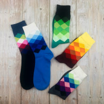Socks / base socks / silk socks / leg socks lovers Other / other 1 pair routine Middle cylinder autumn motion Rhombic lattice cotton Leg shaping pinkycolor