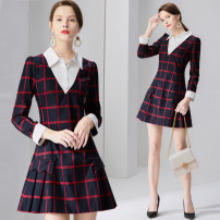 Dress Autumn of 2019 Red lattice S M L XL XXL XXXL Short skirt singleton  Long sleeves commute Polo collar middle-waisted lattice zipper A-line skirt routine Others 25-29 years old Type X The sage of the time Retro B5364 More than 95% polyester fiber Polyester 100% Pure e-commerce (online only)