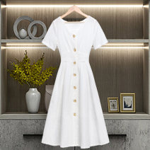 Dress Summer 2020 white S M L XL XXL XXXL Mid length dress singleton  Short sleeve commute V-neck middle-waisted Solid color Single breasted A-line skirt routine Others 25-29 years old Type X The sage of the time lady Stitching buttons More than 95% polyester fiber Polyester 100%