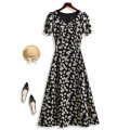 Dress Summer 2020 Black Daisy S M L XL XXL XXXL Mid length dress singleton  Short sleeve commute V-neck middle-waisted Broken flowers zipper A-line skirt bishop sleeve Others 25-29 years old Type X The sage of the time Korean version Stitching printing split More than 95% Chiffon polyester fiber