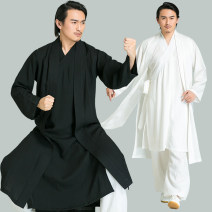 National Costume Ancient charm show S M L XL XS XXL White one piece white suit dark blue one piece dark blue suit black one piece black suit Hanfu WN5666 Viscose 65% polyamide 25% flax 10% summer man-made fiber Solid color No iron treatment Three dimensional tailoring Summer 2017