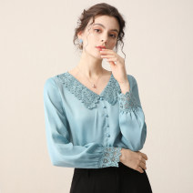 Lace / Chiffon Autumn 2020 Blue grey S M L XL Long sleeves commute Socket singleton  Straight cylinder Regular stand collar Solid color Lotus leaf sleeve 25-29 years old BAYMAY Lace stitching Ol style 96% and above Polyester 100% Pure e-commerce (online only)