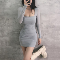 Dress Winter 2020 Black, haze blue S,M,L Short skirt singleton  Long sleeves commute V-neck High waist Solid color Socket One pace skirt routine Others 18-24 years old Type X Korean version Hollow, inlaid, pleated, stitched, gauze mesh polyester fiber