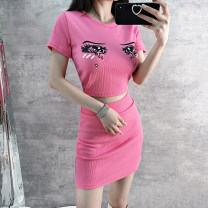 Fashion suit Summer 2021 S,M,L rose red 18-25 years old 31% (inclusive) - 50% (inclusive) cotton