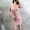 Dress Spring 2021 Black, pink S,M,L Short skirt singleton  Long sleeves commute V-neck High waist Solid color Socket One pace skirt routine 25-29 years old Type X Diamond inlay, button 31% (inclusive) - 50% (inclusive) knitting polyester fiber