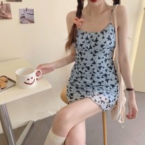 Dress Summer 2021 Blue butterfly suspender skirt S,M,L Short skirt singleton  Sleeveless commute One word collar High waist Decor Socket A-line skirt routine straps 18-24 years old Type A Korean version 31% (inclusive) - 50% (inclusive) other
