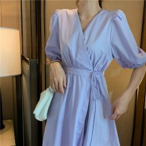 Dress Summer 2021 White, purple Average size longuette singleton  Short sleeve commute V-neck High waist Solid color Socket A-line skirt other Others 18-24 years old Type A Korean version 31% (inclusive) - 50% (inclusive) other other