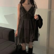 Dress Summer 2021 Picture color Average size Short skirt singleton  Sleeveless commute V-neck High waist Solid color Socket A-line skirt routine camisole 18-24 years old Type A Korean version 31% (inclusive) - 50% (inclusive)