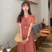 Dress Summer 2021 Light green, brick red M. L, XL, XXL Miniskirt singleton  Short sleeve commute V-neck High waist other Socket A-line skirt other Others 18-24 years old Type A Korean version Splicing 31% (inclusive) - 50% (inclusive) other other