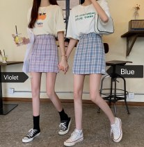 skirt Summer 2020 S,M,L Purple grid, blue grid Short skirt Versatile High waist A-line skirt lattice Type A 18-24 years old 31% (inclusive) - 50% (inclusive) other other