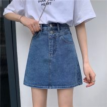 skirt Summer 2021 S,M,L blue Short skirt commute Natural waist A-line skirt Solid color Type A 18-24 years old 71% (inclusive) - 80% (inclusive) Korean version