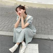 Dress Summer 2021 Skirt, sling Average size longuette Two piece set Short sleeve commute V-neck High waist Broken flowers Socket A-line skirt puff sleeve Others 18-24 years old Type A Korean version Splicing 31% (inclusive) - 50% (inclusive) other other