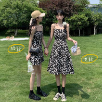 Dress Summer 2021 Long, short Average size Short skirt singleton  Sleeveless commute One word collar High waist Broken flowers Socket A-line skirt other camisole 18-24 years old Type A Korean version 31% (inclusive) - 50% (inclusive) other other