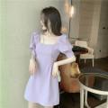 Dress Summer 2020 Purple, black S, M Short skirt singleton  Short sleeve commute square neck Elastic waist Solid color A-line skirt routine 18-24 years old Type H Korean version