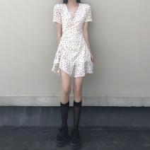 Dress Summer 2021 Apricot Average size Miniskirt singleton  Short sleeve commute V-neck High waist Dot Socket Irregular skirt routine 18-24 years old Type A Korean version 31% (inclusive) - 50% (inclusive) other
