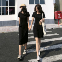 Dress Summer 2021 Average size longuette singleton  Short sleeve commute Crew neck High waist Solid color Socket A-line skirt other 18-24 years old Type A Korean version 31% (inclusive) - 50% (inclusive) other